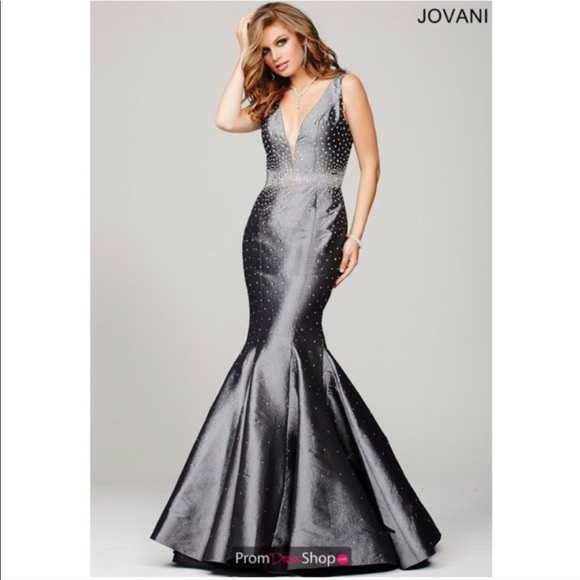 0d145058aebef Jovani Dresses | Jeweled Prom Dress In Gray Mermaid Fitted | Poshmark